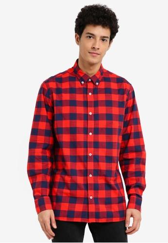 MANGO Man 紅色 修身格紋襯衫 B2B28AAE43EB61GS_1