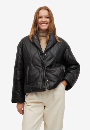 Mango black Quilted Leather Jacket B5AADAAFB5D31DGS_1