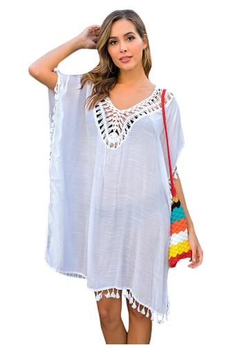 LYCKA white LTH4137-European Style Beach Casual Outer Dress-White 128DEUSE16685CGS_1