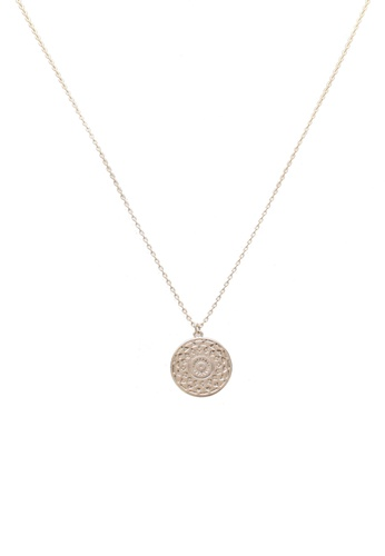 Orelia London gold Golden Plate Engraved Coin Ditsy Necklace OR747AC0SC4SMY_1