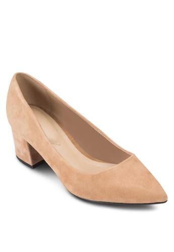 Kolitesprit holdingso 麂皮尖頭粗跟鞋, 女鞋, 鞋