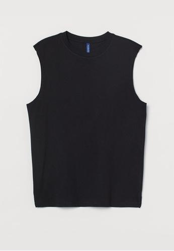 H&M black Top Loose Fit FB760AA4617C1FGS_1