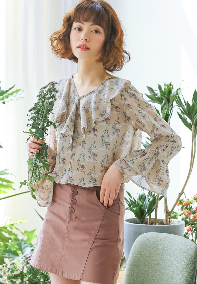 Floral Ruffles Beige Shopsfashion Blouse Beige in Printed qBr55dw6