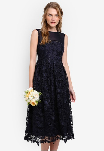 ZALORA navy Bridesmaid Structured Lace Midi Dress 85C94ZZ0D12FB5GS_1