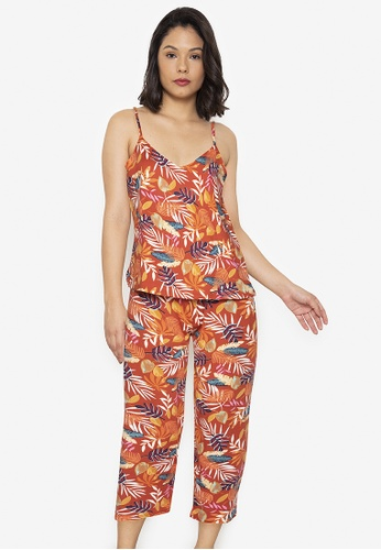 F.101 orange Printed Pajama Set 259BCAAEBC917AGS_1