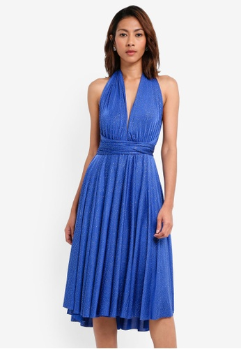 Goddiva blue Glitter Multi Tie Midi Dress 9641BAA817AC8BGS_1