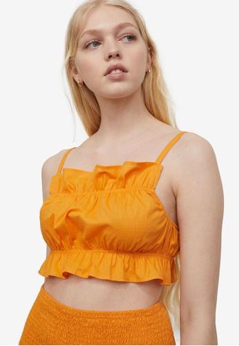 H&M orange Flounce-Trimmed Crop Top FDF9DAA195F9AEGS_1