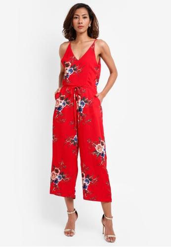 bc144f59a671 AX Paris red V-Front Print Jumpsuit 9928EAA4940BADGS 1