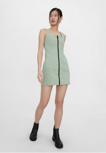 Pomelo green Square Neck Front Zip Dress - Green B8E5EAA2B65B35GS_1