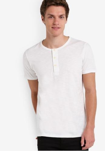MANGO Man white Henley Cotton T-Shirt MA449AA24AYHMY_1