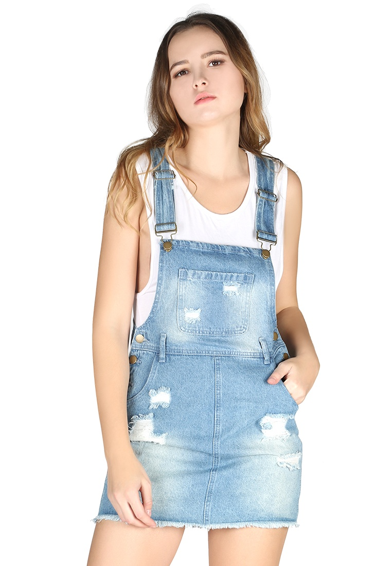 Denim London Off blue Dungaree Rag Ripped Blue London Women Rag BfTxOwqH