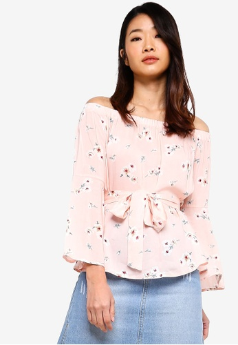 Something Borrowed pink Off Shoulder Flare Sleeves Top 75CAEAAFF69F26GS_1
