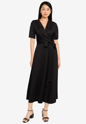 ZALORA BASICS black Cross Tie Front Midi Dress 3D33AAA568002FGS_1