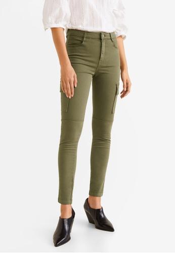 Mango green Cotton Cargo Trousers F7E96AA2B2854EGS_1