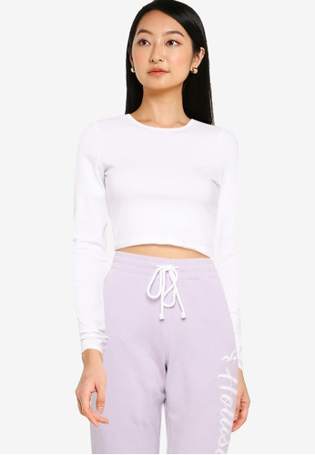 Hollister white Long Sleeves Crop Baby Tee 58A0CAAF98B9BBGS_1