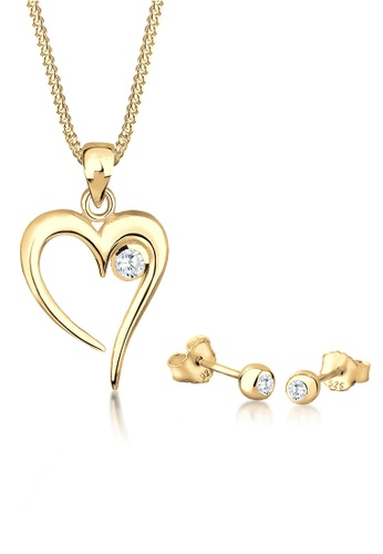 ELLI GERMANY gold Elli Germany Jewerly Set Heart Solitaire Cubic Zirconia In Love Sterling Silver Gold Plated CBBC7AC9BC8ACDGS_1