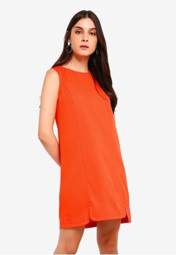 ZALORA orange U Slits Detail Shift Dress 0F2C6AA3A2004BGS_1