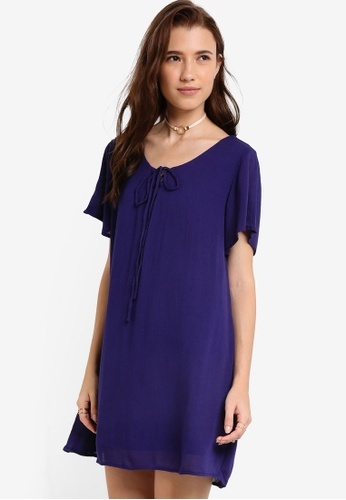 Something Borrowed blue Sleeved Lace-up Dress 8654FAA7633AE4GS_1