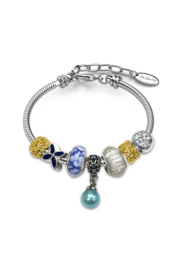 Her Jewellery white and silver Pearl Charm Bracelet (Blue) - Made with premium grade crystals from Austria D3E3BACA5BAEAFGS_1