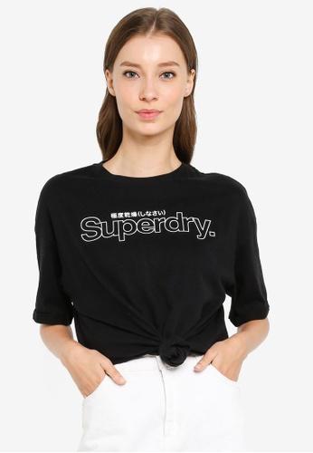 SUPERDRY black Swiss Logo Outline Boxy Tee 199DBAA9C1F07CGS_1