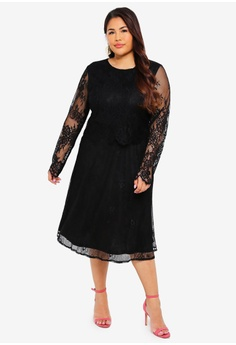 388e522ebfa8 57% OFF LOST INK PLUS Plus Size Dress With Scallop And Lace S$ 94.90 NOW S$  40.70 Sizes 16 18 20 22 24