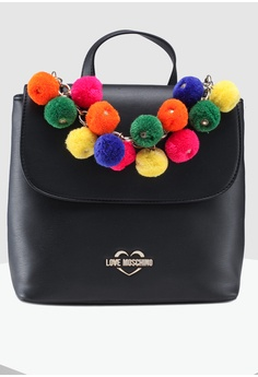 f85baf1ca5 Love Moschino black Pom-Pom Soft Grain Backpack 8C22AAC66317C7GS_1