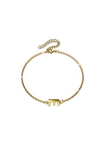 Bullion Gold gold BULLION GOLD Bold Alphabet Letter Initial Charm Bracelet in Gold Tone - E 13D81AC51051B4GS_1