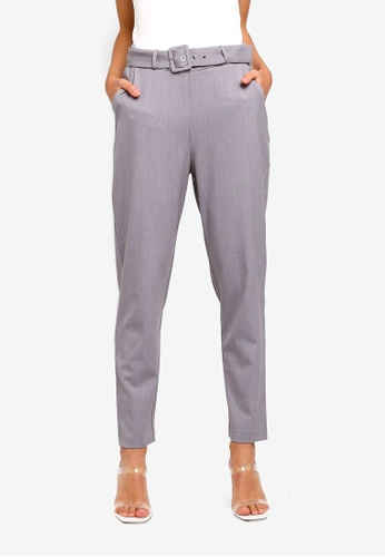 Forever New grey Emma High Waist Self Belt Pants A9F54AA3FAB69EGS_1