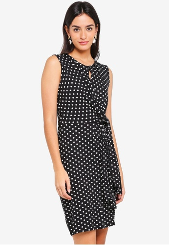 Wallis black Petite Black Polka Dot Tie Dress 0C6E1AA366A213GS_1