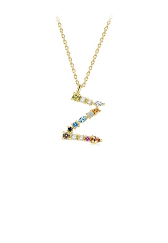 Glamorousky silver 925 Sterling Silver Plated Gold Fashion Simple Color English Alphabet Z Pendant with Cubic Zirconia and Necklace B926BACA6608F3GS_1