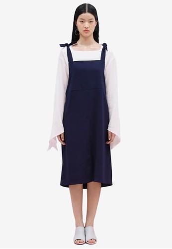 韓esprit分店系時尚蝴蝶結吊帶連身裙, 服飾, 洋裝