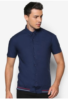Stripe Rib Hem Short Sleeve Shirt