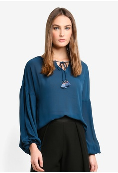 a803905da3f BYSI green and blue Fringe Ring Tie Bishop Blouse 26EE2AABE8D764GS 1