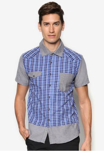 拼esprit門市地址色格紋短袖襯衫, 服飾, 短袖襯衫