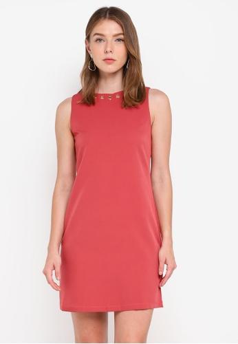 ZALORA pink Metal Eyelet Shift Dress 26CB6AA63661A3GS_1