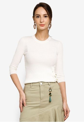 Hopeshow white 3/4 Sleeve Round Neck Knitted Blouse DC66AAA2079D4EGS_1