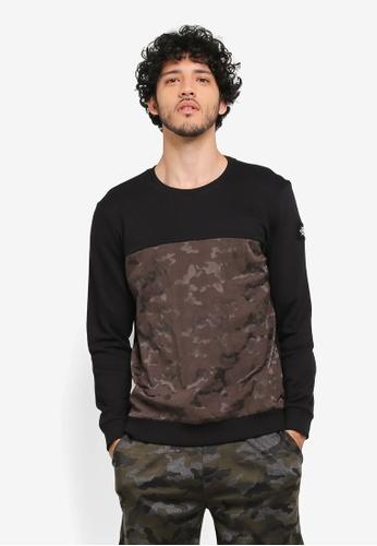 JAXON black and multi Mix Fabric Sweatshirt B6477AA8714B6DGS_1