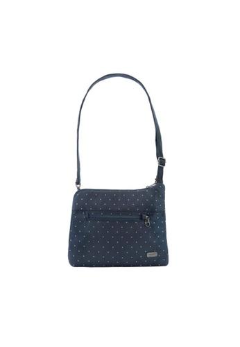 Pacsafe blue Pacsafe Daysafe Anti-Theft Slim Crossbody Bag (Navy Poka Dot) B00F2AC171B282GS_1