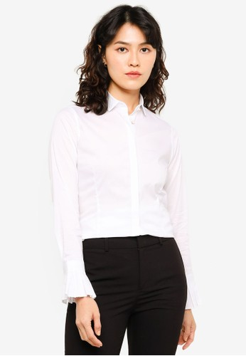 Sacoor Brothers white Cotton Elastane Shirt With Pleated Cuffs F9782AA91E2B20GS_1