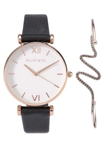 Milliot & Co. 黑色 Taylor Watch Set 7805FAC9C027D2GS_1