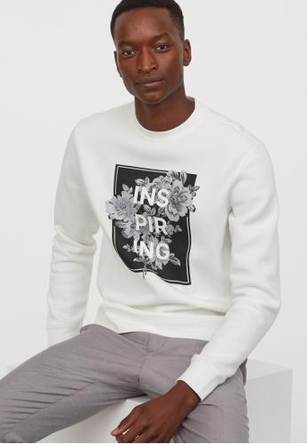 H&M white Printed sweatshirt 4C87CAAB16D356GS_1