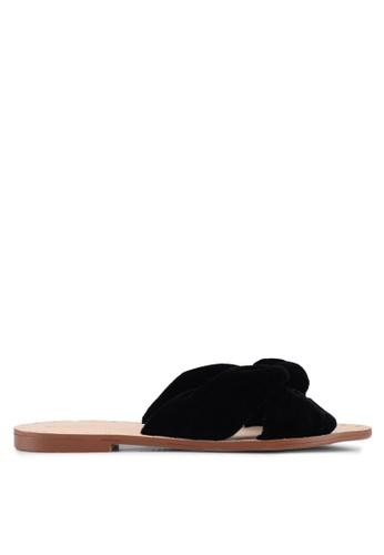 Mango black Knot Velvet Sandals 7AB6FSH9879376GS_1