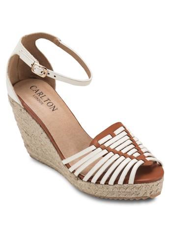 魚zalora 鞋評價口踝帶麻編楔形涼鞋, 女鞋, 鞋