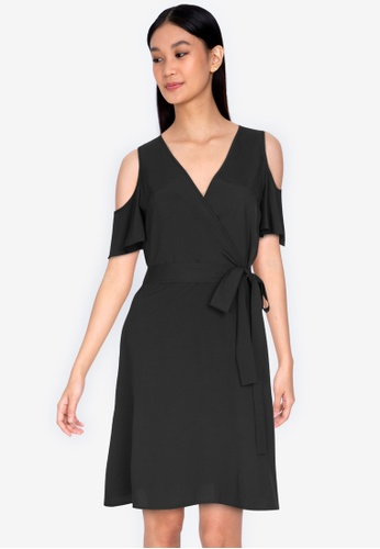 ZALORA BASICS 黑色 Overlap Top Cold Shoulder Dress D0ABCAA360B12CGS_1
