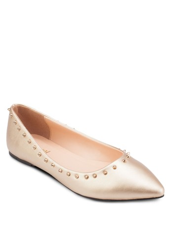 鉚釘尖頭平底鞋, 女鞋esprit hk store, 芭蕾平底鞋