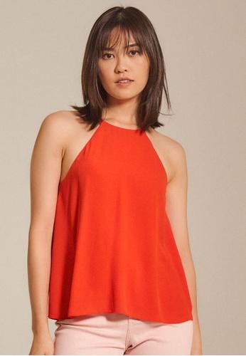 Dressing Paula red Chiffon Halter Top D567BAA4A264ACGS_1