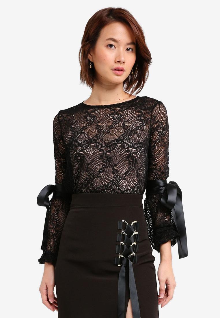 Black Vesper Leigha Top Lace Vesper Bow Detail qgRWgBY4w
