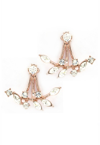 YOUNIQ red and gold YOUNIQ-Basic Korean Leaves Drop Rosegold Earring YO999AC09DDQMY_1