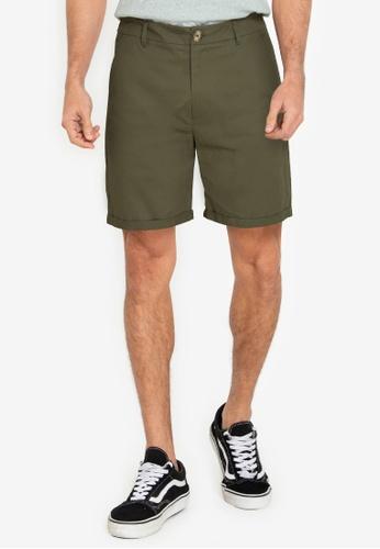 ZALORA BASICS green Chino Shorts C1B92AAE790CEAGS_1
