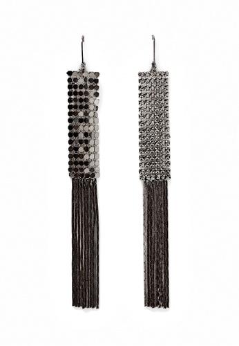 LUCCACAL black Metal Mesh Fringe Earrings LU294AC0SH4JMY_1